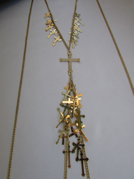 Gold Metal Body Chain Rhinestones Multi Mini Cross Pendant Necklace New Women Jewelry Accessories