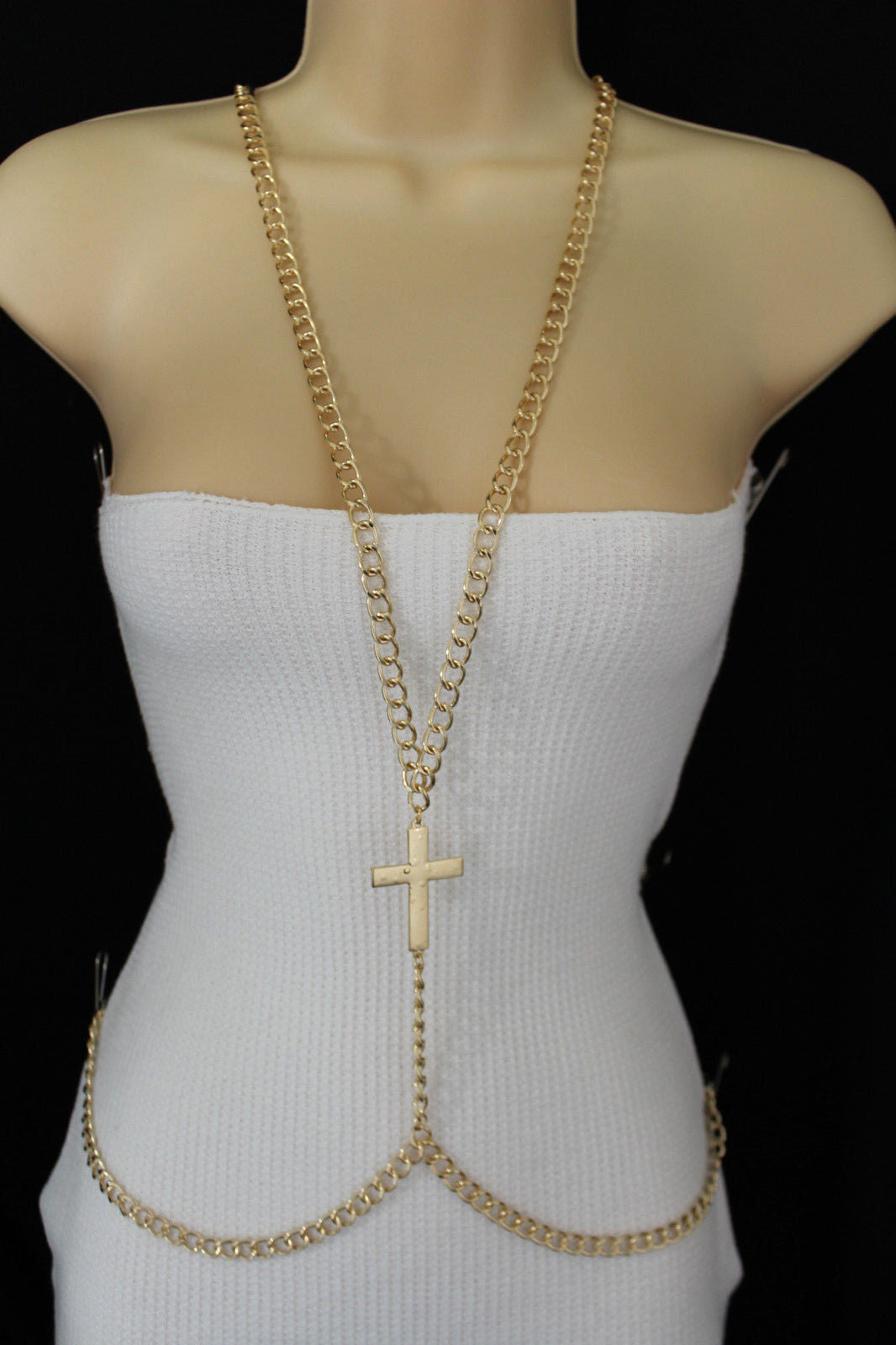 Gold Metal Body Chains Harness Cross Charm Long Necklace New Women Fas Alwaystyle4you