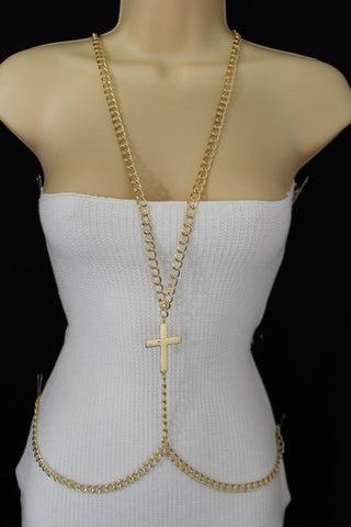 Gold Metal Body Chains Harness Cross Charm long Necklace New Women Fashion Jewelry Accessories