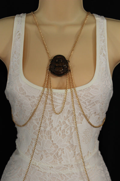 Gold Metal Body Chains Harness Pool Necklace Buddha Charm Women Fashion Jewelry Accessories