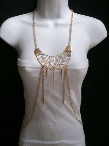 Gold Metal Body Chains Large Moon Geometric Shapes Pendant Long Necklace New Women Accessories