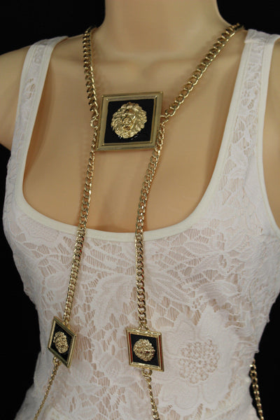 Gold Metal Body Chains 3 Head Lion Charm Harness Pool Necklace New Women Fashion Accessories