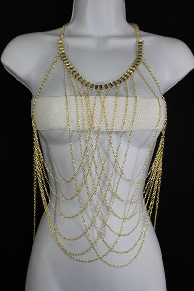 Gold Metal Body Chains Long Waves Harness Bikini Necklace New Women Fashion Jewelry Accessories