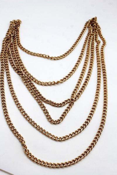 Gold Metal Body Chains Shoulder Front Back Wave Necklace New Women Fashion Jewelry Accessories