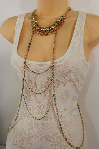 Gold Metal Body Chains Waves Harness Balls Beads Choker Necklace New Women Fashion Accessories