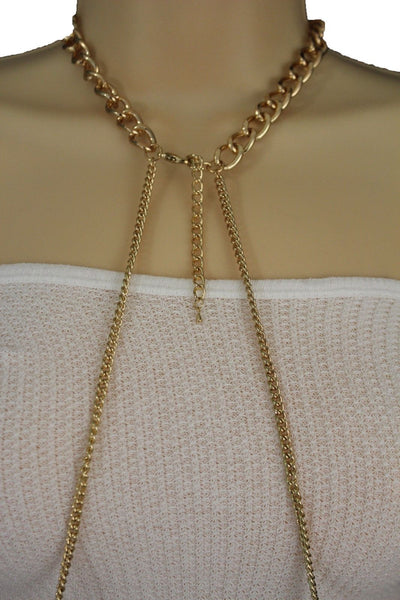 Gold Metal Body Chains Necklace Multi Stripes Blue Turquoise Gold Balls New Women Jewelry Accessories