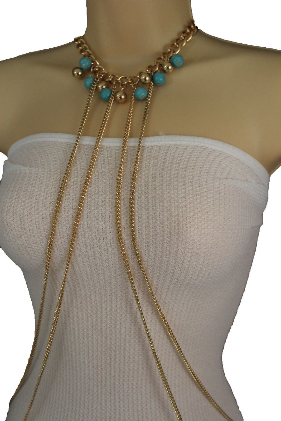 5d7f649f643c Gold Metal Body Chains Necklace Multi Stripes Blue Turquoise Gold Balls New  Women Jewelry Accessories