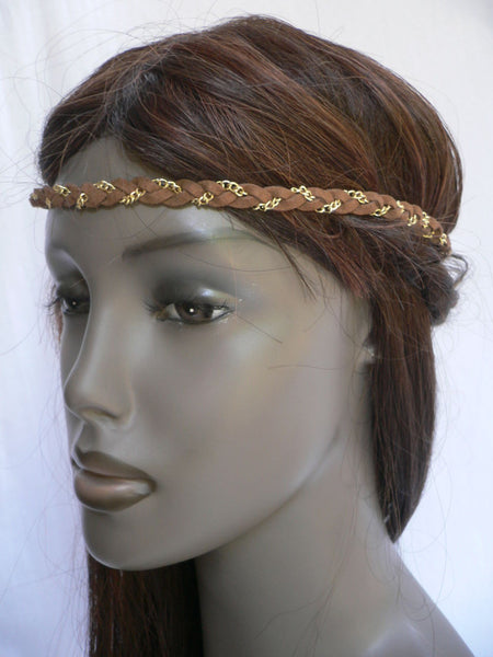 Gold Metal Brown Faux Suede Head Elastic Band Forehead Women Fashion Punk Rock Accessories