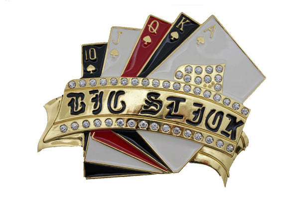 Gold Metal Luck Charm Royal Flush Las Vegas Casino Belt Buckle New Men Accessories