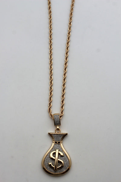 Gold Metal Chain 3D Dollar Money Bag Charm $ Pendant Long Necklace Hip Hop Style New Men Accessories