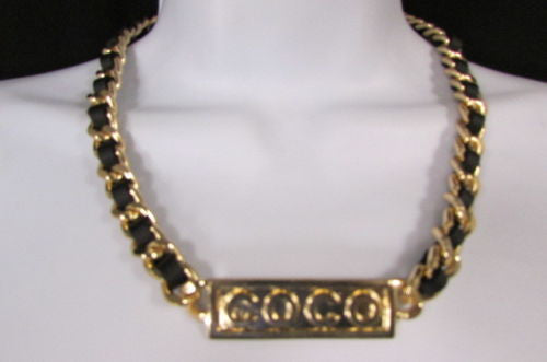 Gold Metal Chain Black Strap Co Co Plate Pendant Necklace New Women Fashion Accessories