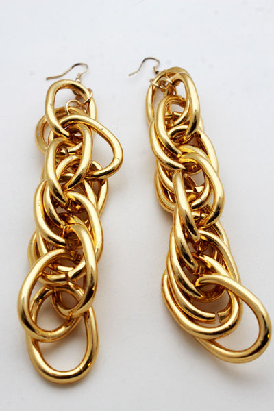 Gold Metal Chain Chunky Thick Links Hip Hop Long Drop Earrings Set New Women Accessories