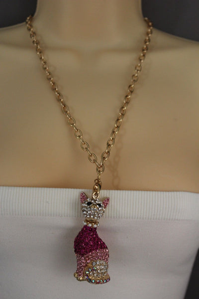 Gold Metal Chain Cute Pink House Cat Multi Rhinestones Pendant Long Necklace Women Accessories