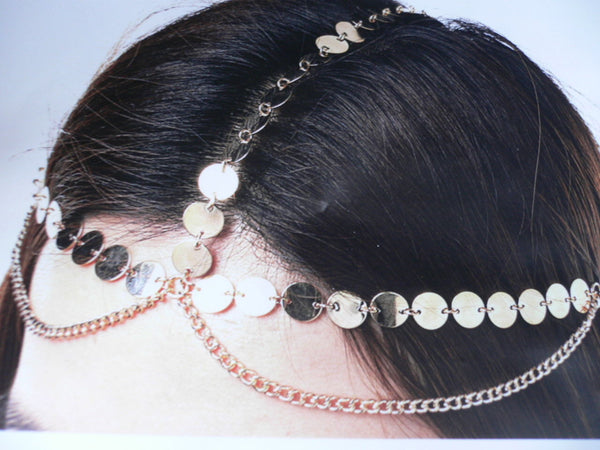 Gold Metal Chain Hair Piece Chic Headband Head Waves Coins Women Trendy Fashionable Accessories