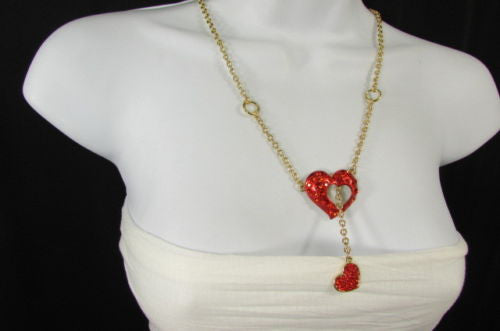 Gold Metal Chain Inside Out Red Heart Rhinestone Long Necklace New Women Fashion Accessories