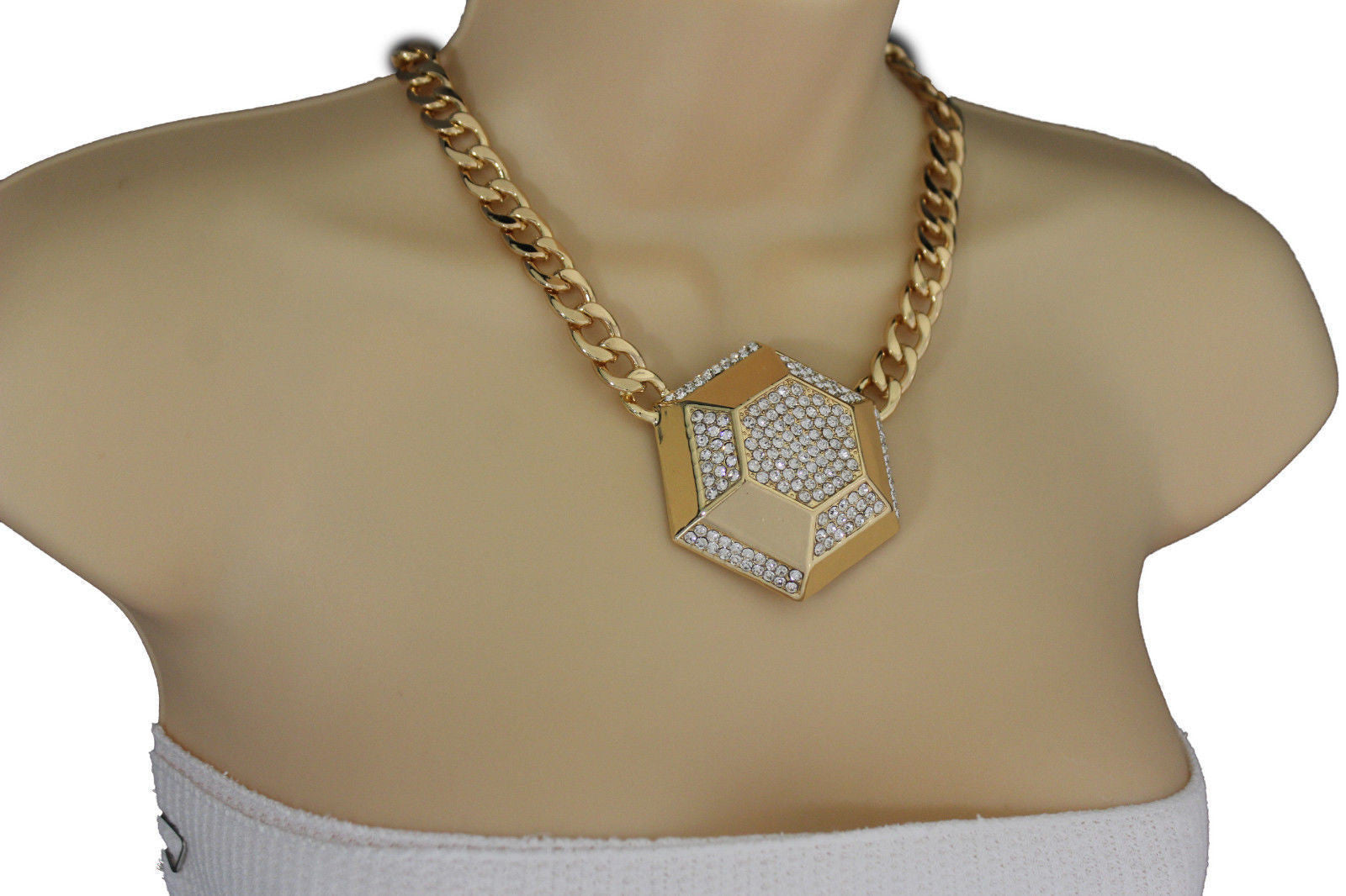 gold tone brushed givenchy chain necklace link