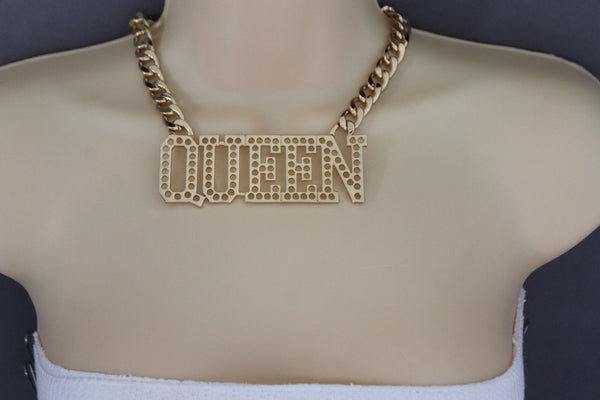 Gold Metal Chain Link Big QUEEN Holes Charm Short Necklace New Women Fashion Jewelry Accessories