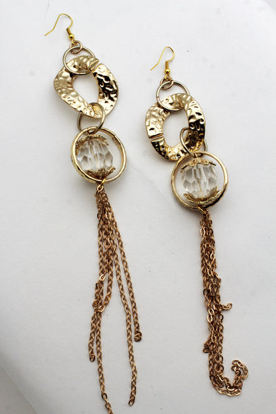 Gold Metal Chain Link Long Fringes Drop Flower Hip Hop Earrings Women Fashion Accessories