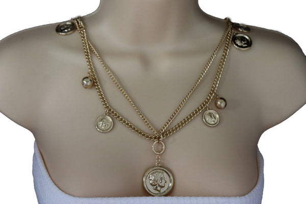 Gold Metal Chain Link Multi Coins 2 Strands Charms Long Necklace New Women Accessories