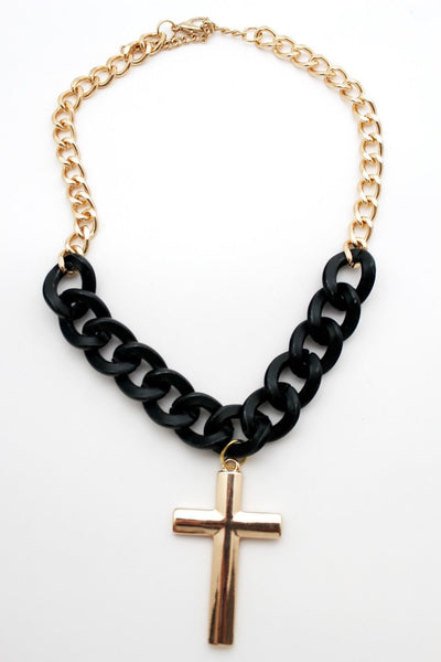Gold Metal Chain Links Charm Black Big Cross Pendant Long Necklace Women Fashion Jewelry Accessories