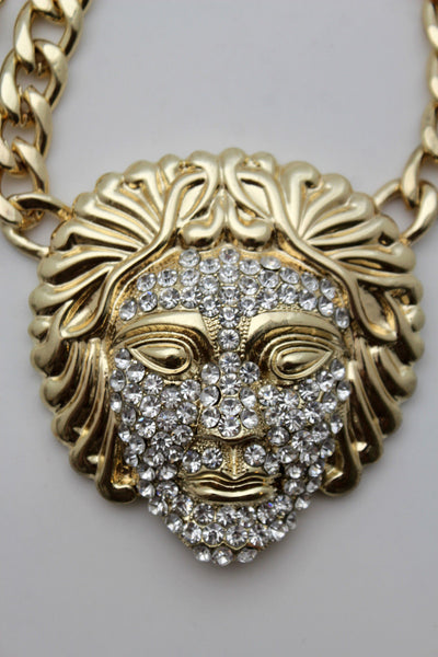 Gold Metal Chain Links Cool Long Necklace Medusa Head Face Pendant Hip Hop New Men Accessories