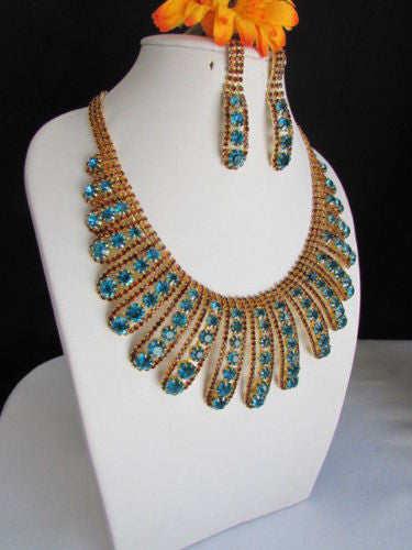 Gold Chain Flowers Statement Jewelry Brown Blue Rhinestones Necklace Earrings Accessories