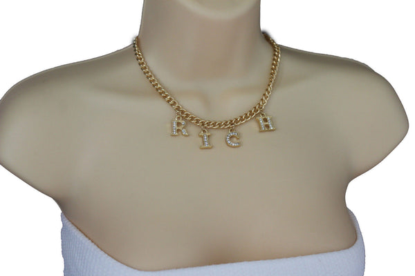 Gold Metal Chain RICH Letters Pendant Short Necklace New Women Fashion Jewelry Accessories