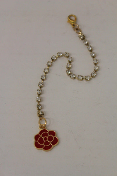 Gold Metal Chains Back Pendant Necklace Silver Beads Red Flower New Women Accessories