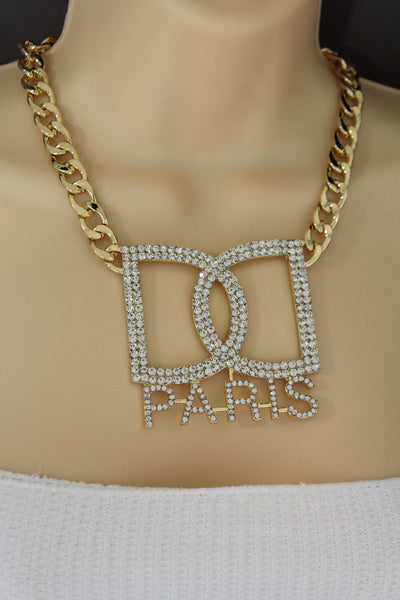 Gold Metal Chains Big D Hand Cuffs Paris Charm Short Necklace New Women Fashion Jewelry Accessories