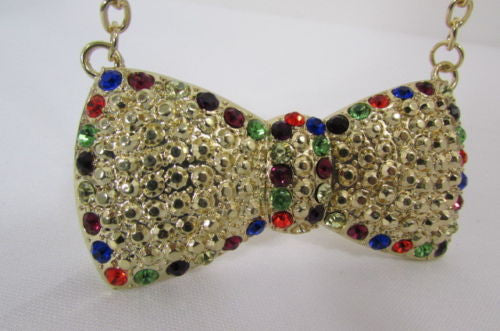 Gold Metal Chains Ribbon Bow Multicolor Rhinestones Short Necklace Women Accessories
