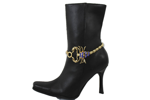 Gold Metal Chains Big Scorpion Boot Bracelet Colors Rhinestones New Women Accessories