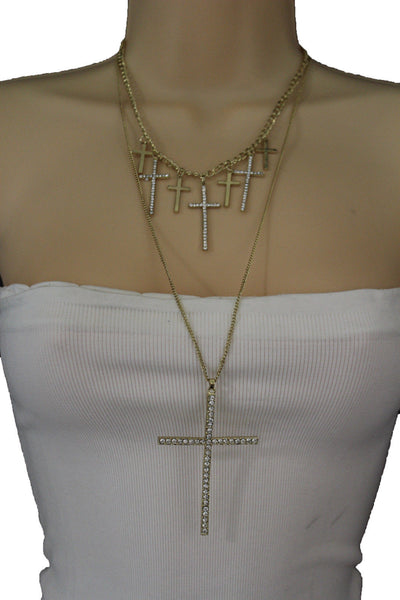 Gold Metal Chains Big Small Crosses Pendant Charm Sexy Necklace New Women Fashion Jewelry Accessories