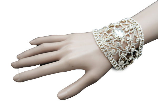 Gold Metal Chains Bracelet Silver Rhinestones Bridal Wedding Wrist New Women Accessories