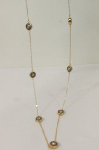 "Gold Metal Chains Classic Circles Pendant 40"" Long Necklace New Women Fashion Accessories"