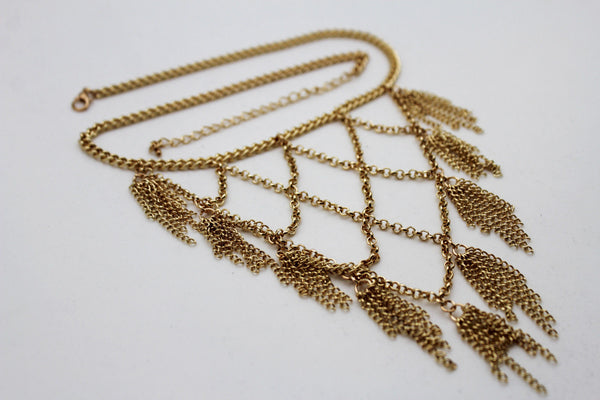 Gold Metal Chains Fringes Tassel Stylish Short Necklace New Women Fashion Jewelry Accessories