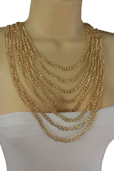 Gold Metal Chains Links 8 Strands Long Necklace New Women Fashion Jewelry Accessories