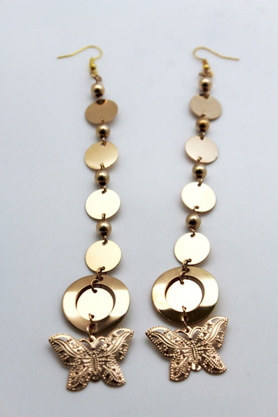 Gold Metal Chains Long Dangle Butterfly Charm Earrings Set Women Fashion Jewelry Accessories