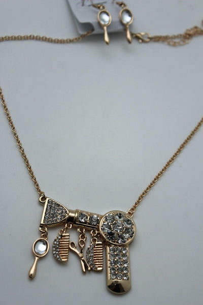 Gold Metal Chains Silver Rhinestones Bead Hair Dresser Beauty Pendant Necklace New Women Fashion Accessories