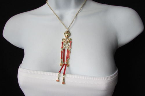 "Gold Metal Chains Red Skeleton Body Pendant 13"" Long Necklace Halloween Style New Women Accessories"