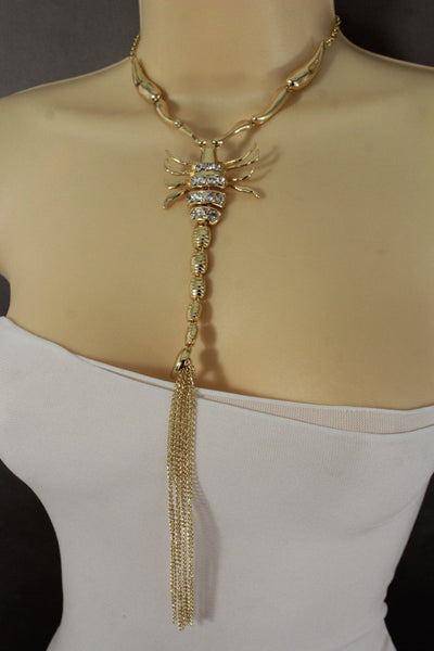 Gold Metal Charm Long Fringe Big Scorpion Pendant Necklace New Women Fashion Jewelry Accessories