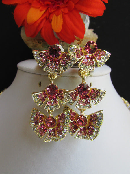 Gold Metal Chic Chain Multi Butterflys Pink Rhinestones Statement Jewelry Necklace Earrings New Women Accessories