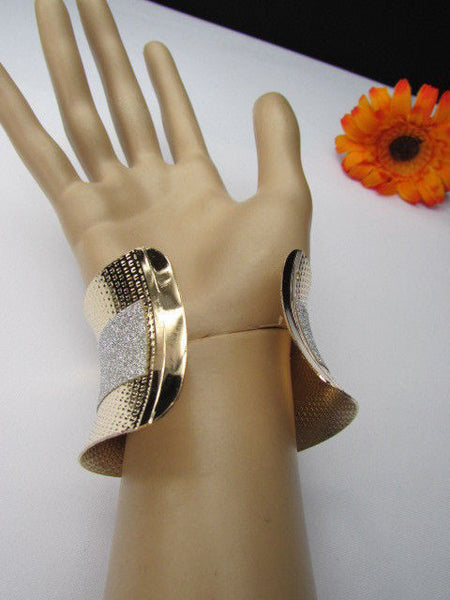 Gold Metal Cuff Bracelet Horizontal Silver Shiny Glitter Stripes New Women Fashion Accessories - alwaystyle4you - 11
