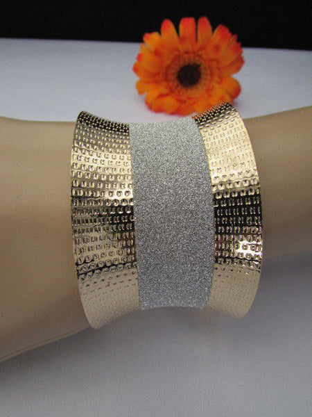 Gold Metal Cuff Bracelet Horizontal Silver Shiny Glitter Stripes New Women Fashion Accessories - alwaystyle4you - 12