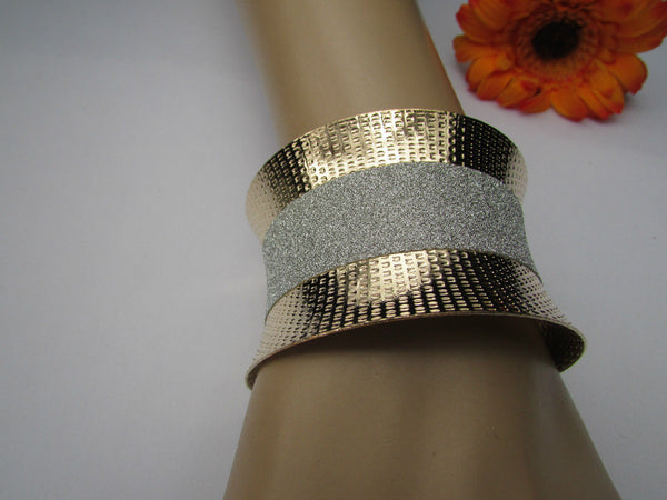 Gold Metal Cuff Bracelet Horizontal Silver Shiny Glitter Stripes New Women Fashion Accessories - alwaystyle4you - 3