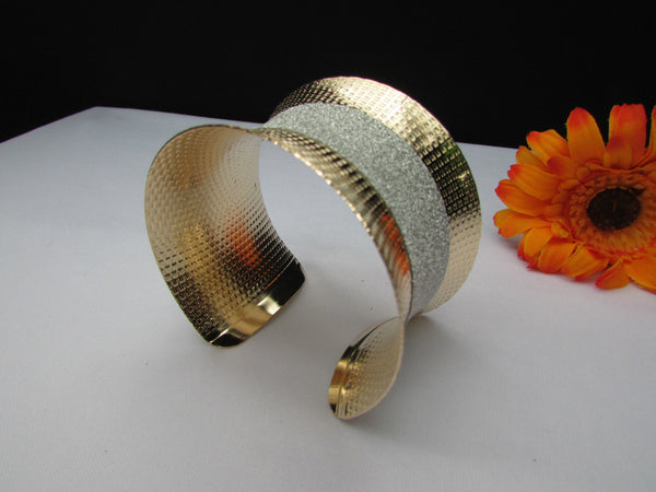 Gold Metal Cuff Bracelet Horizontal Silver Shiny Glitter Stripes New Women Fashion Accessories - alwaystyle4you - 5