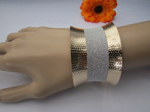 Gold Metal Cuff Bracelet Horizontal Silver Shiny Glitter Stripes New Women Fashion Accessories - alwaystyle4you - 1