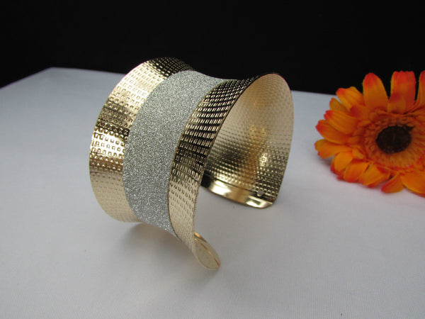 Gold Metal Cuff Bracelet Horizontal Silver Shiny Glitter Stripes New Women Fashion Accessories - alwaystyle4you - 7