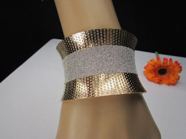 Gold Metal Cuff Bracelet Horizontal Silver Shiny Glitter Stripes New Women Fashion Accessories - alwaystyle4you - 2