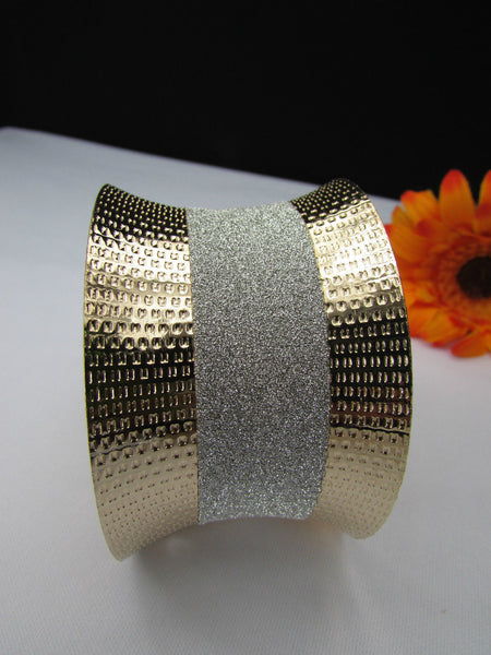 Gold Metal Cuff Bracelet Horizontal Silver Shiny Glitter Stripes New Women Fashion Accessories - alwaystyle4you - 9