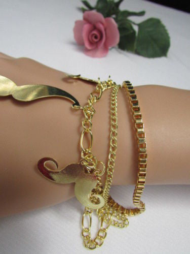 Gold Silver Red Gold Metal Delicate Thin Hand Chain Bracelet Slave Ring Charms Mustaches New Women Fashion Accessories